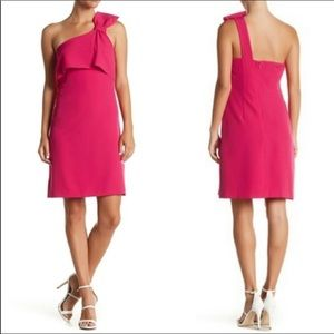 NWT Adrianna Papell One Shoulder Bow Pink Dress 2